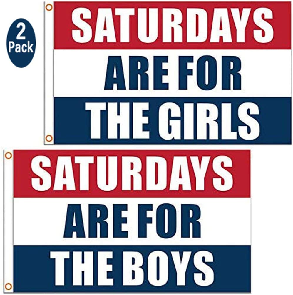 Saturdays for The Girls Flag and Saturdays for The Boys Flag, 3x5 Feet, Vivid Color Durable & Fade Resistant Decor Banner, Perfect for College Football Games Fraternities Parties Dorm Room(2 PCS)