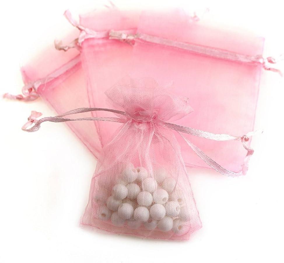 10 x Shimmering Organza Drawstring Bags BNSGB01 Pale Pink