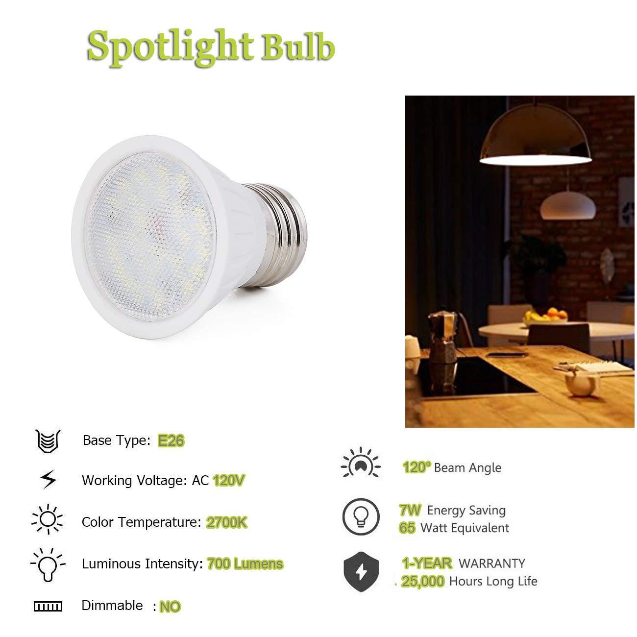 ,E26 Medium Base,700 Lumen,120 Degree Beam Angle,120 Volt,CRI 85+ Small Flood Light Bulbs Indoor 6 Pack 65W Halogen Equivalent Spotlight Bulb PAR16 LED Bulb Daylight White 5000K Non-Dimmable,7W