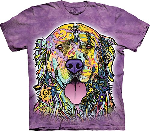The Mountain Russo Golden Retriever Adult T-Shirt, Purple, XL - Golden Retriever Puppy Photo