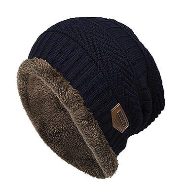 180d385f65b iYmitz Chapeau Chaud Tricot Tour de avec Doublure Polaire Hiver Homme Femme  Chapeau Beanie Bonnet Hiver