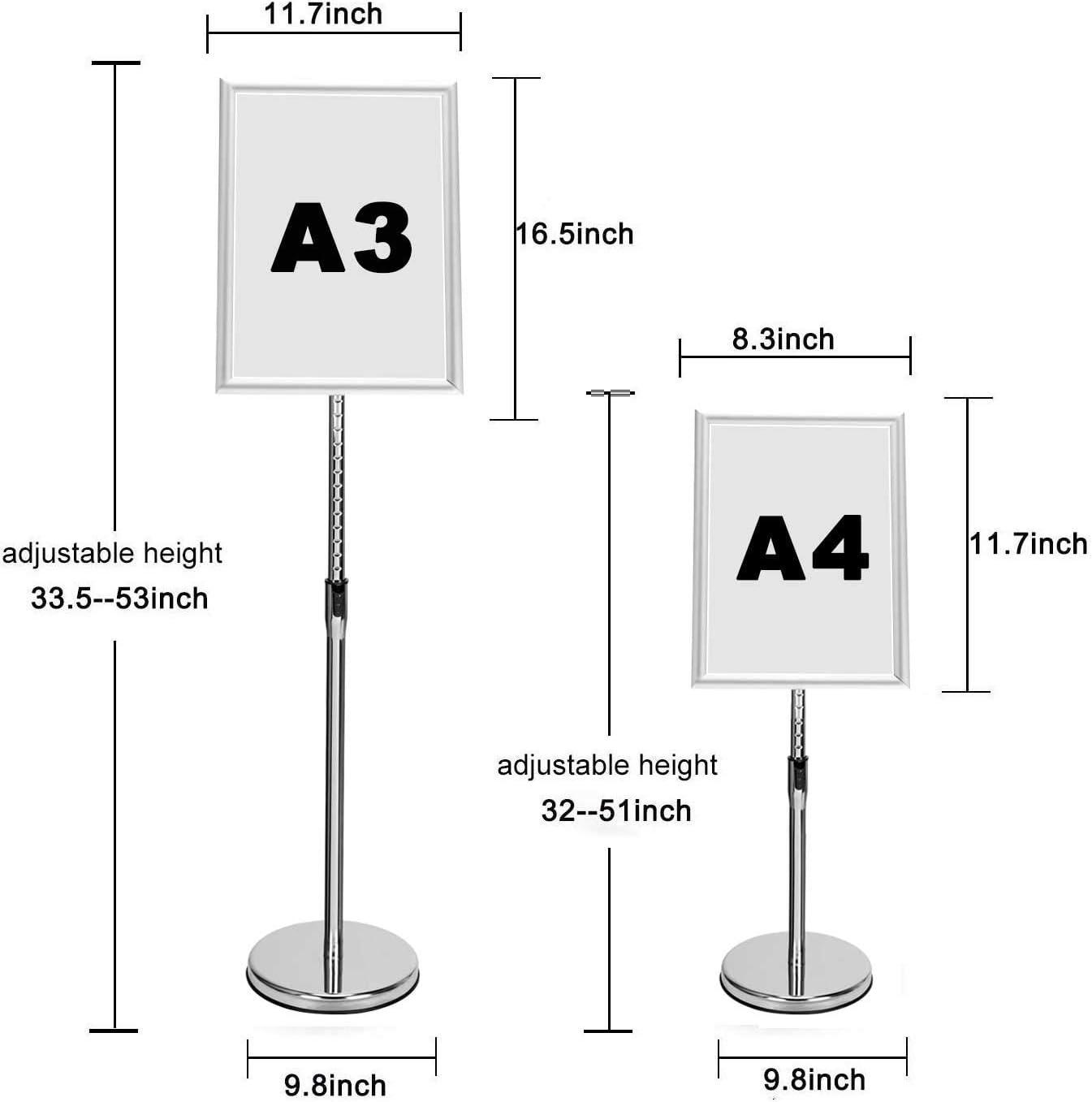 Soporte para avisos Plateado, A4 Soporte ajustable para letreros Soporte de p/óster reemplazable A3 Soporte para men/ús Soporte para letreros A4 Soportes de exhibici/ón de aluminio para pisos