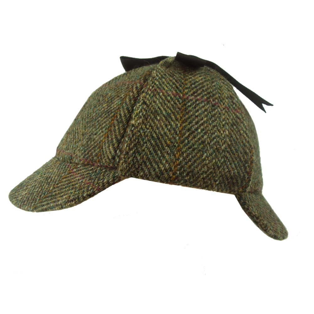 Failsworth Harris Tweed Sherlock Deer Stalker Hat Green Pattern 2013