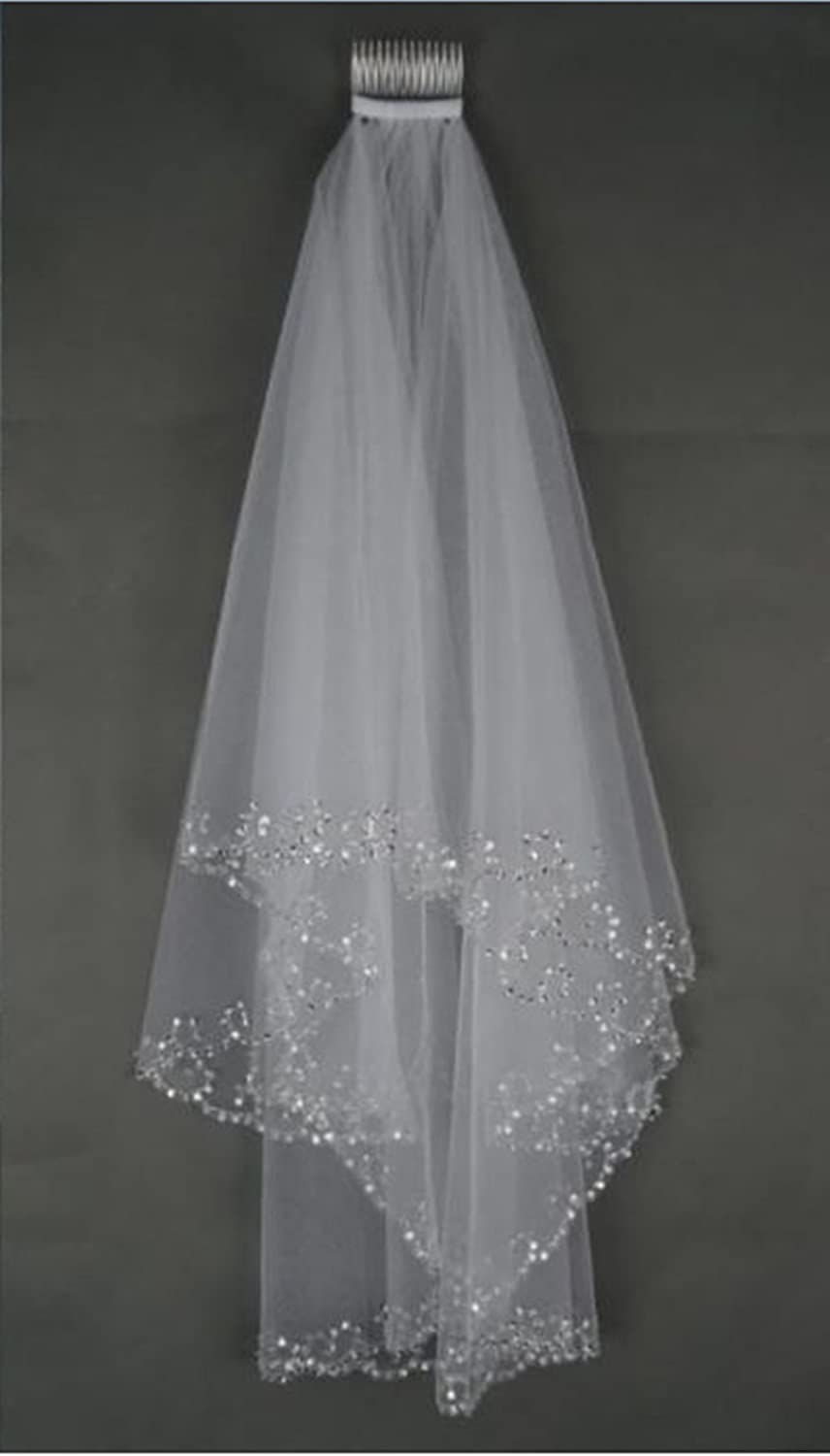 mlt beaded edge pearl sequins wedding bridal veil with comb