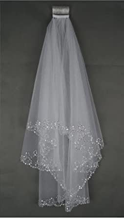 MLT Elbow Beaded Edge Pearl Sequins Wedding Bridal Veil With Comb Ivory