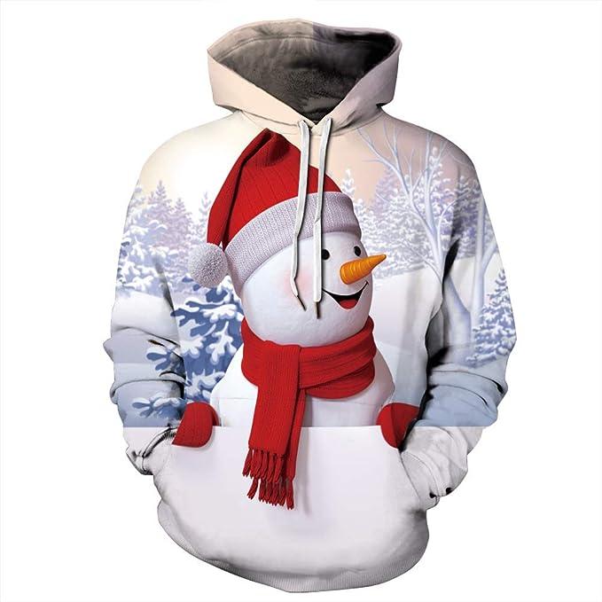 Merry Christmas Couples Fashion Plus Size Hoodies Xmas Pullover 3D Print Ugly Christmas Kangaroo Pocket Sweatshirt
