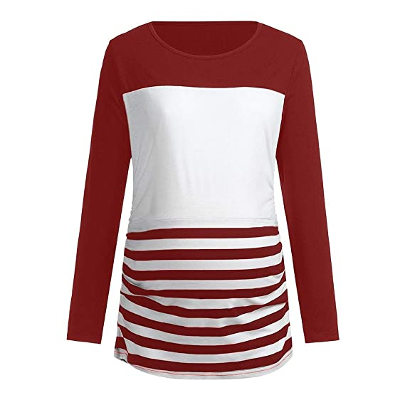06003697bc67 Hinxinfree Women s Maternity T-Shirt Pregnant Nursing Long Sleeve Stripe  Print Tops Pregnant T-shirt Clothes  Amazon.in  Clothing   Accessories
