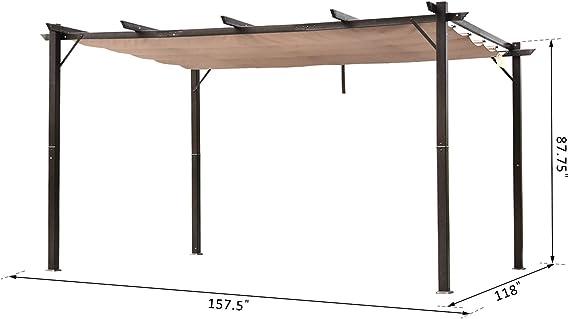 Outsunny - Toldo de aluminio para pérgola al aire libre, diseño cuadrado, resistente al jardín, color marrón: Amazon.es: Jardín