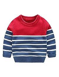 Mud Kingdom Little Boys Long Sleeve Color Block Knitted Sweater Stripe