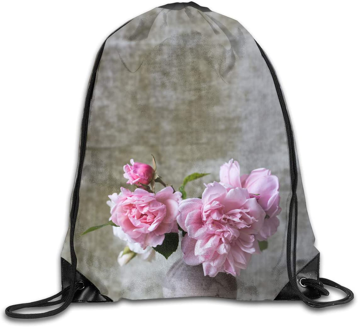 CoolStuff Travel Shoe Bags,Pink Blossom in Vase Drawstring Backpack Hiking Climbing Gym Bag,Large Big Durable Reusable Polyester Footwear Protection