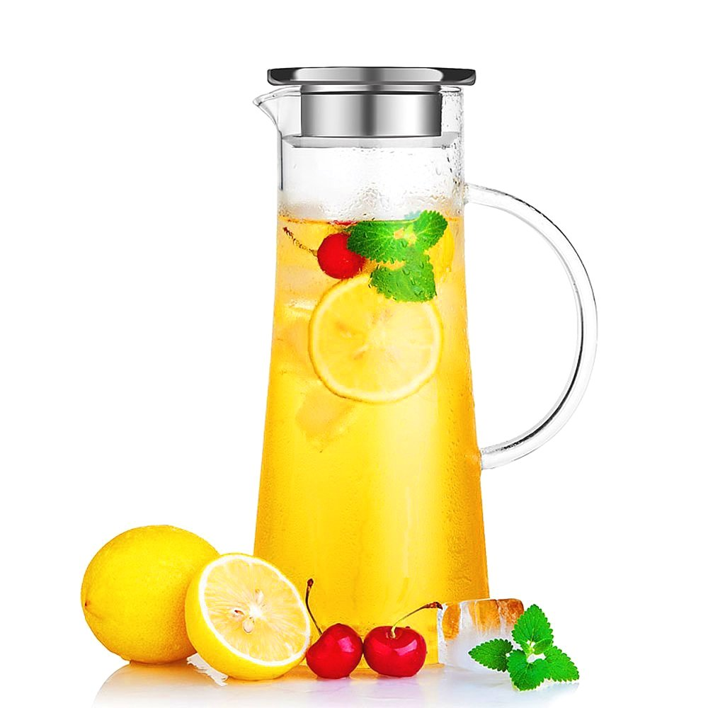 Hiware® Glass Water Carafe with Stainless Steel Lid, 50 Oz / 1.5 L Borosilicate Glass Iced Tea Pitcher, Create Your Own Naturally Flavored Fruit Infused Water, Juice, Iced Tea, Lemonade & Sparkling Beverages HIGWC-1