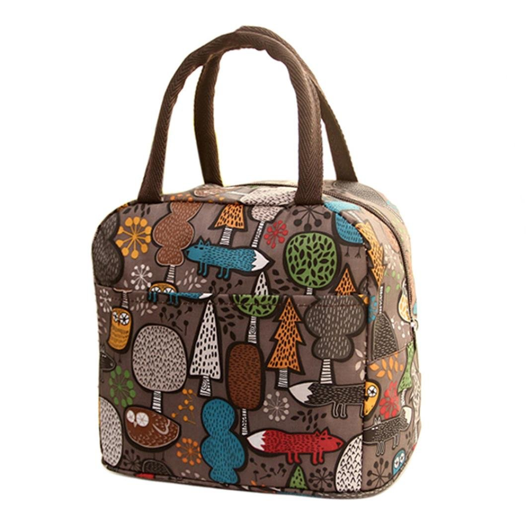 Clearance Deal! Hot Sale!Lunch Bag, Fitfulvan Thermal Insulated Tote Picnic Lunch Cool Bag Cooler Box Handbag Pouch Lunch Bag Box Container (Coffee)