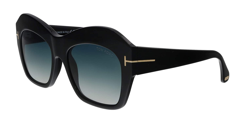 ba42e090c5738 Tom Ford Emmanuelle FT-0354 01W Women Black Square Thick Frame T-Logo  Sunglasses at Amazon Men s Clothing store