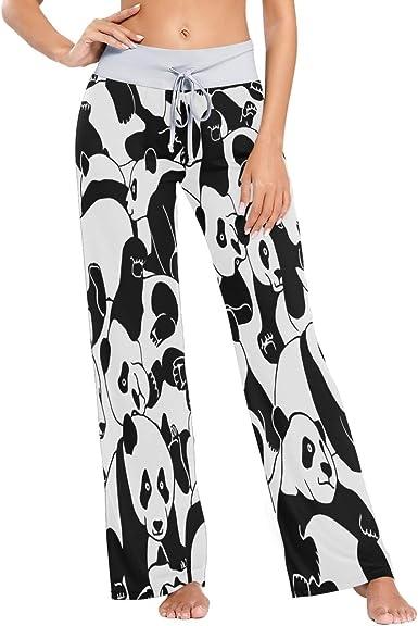 Mnsruu Pantalones De Pijama Para Mujer Diseno De Panda De Dibujos Animados Pantalones Elasticos Amazon Es Ropa Y Accesorios