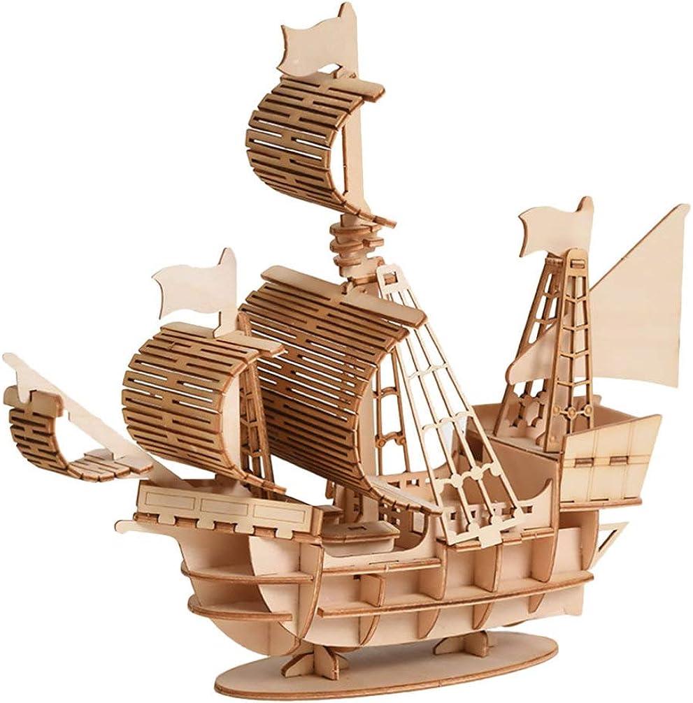 MILISTEN 1 Juego de Rompecabezas de Madera 3D para Adultos Niños Modelo Mecánico Juego de Rompecabezas de Madera Modelo de Velero para Ensamblaje de Bricolaje Artesanía Decoración Del
