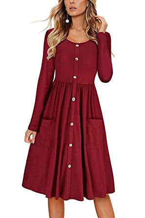 a2bae5c8852f FAVALIVE Womens Long Sleeve Swing Party Dress Casual Loose Plain Button  Down Dresses Burgundy S