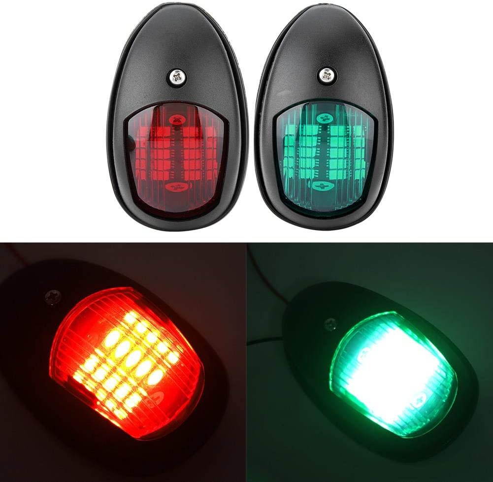 EBTOOLS 1 Pair of 12V 8W Red Green LED Navigation Light Signal Lamp Sidelight for Marine Boat Yacht Navigation Light Accessory