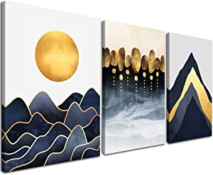 Gardenia Art Boho Canvas Prints Wall Art Gold Blue Grey Mountain and Sun Giclee Black and White Walls Decoration Stretched Wooden Framed for Living Room Office Bedroom Decor 16