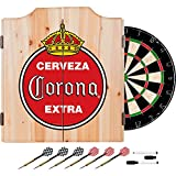 Officially Licensed Vintage Corona Design Deluxe Wood Cabinet Complete Dart Set