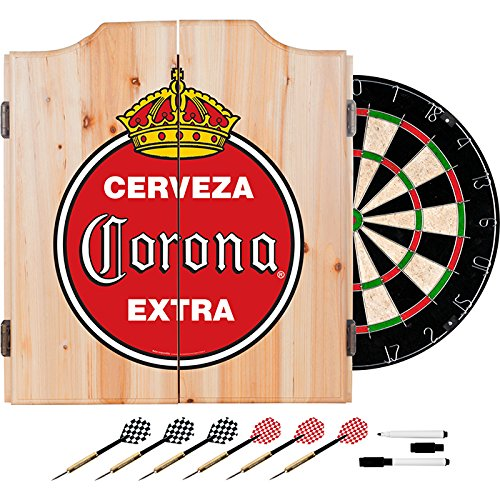 Officially Licensed Vintage Corona Design Deluxe Wood Cabinet Complete Dart Set by TMG