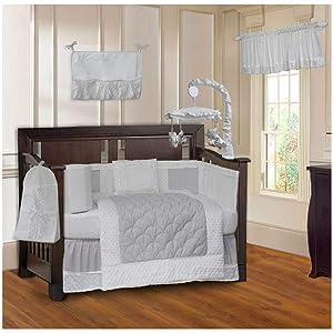 BabyFad Minky White 10 Piece Baby Crib Bedding Set