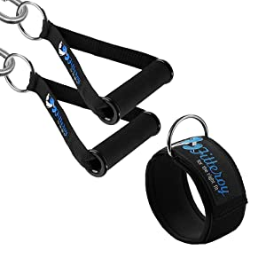 Fitteroy Cable Machine Attachments Handles and Ankle Strap Set - Gym and Home Gym Accessories