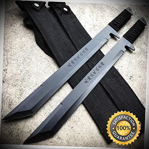 2 PC Full Tang 18'' Ninja Samurai Twin Tanto Blade Sword Machete Katana BLACK - Outdoor For Camping Hunting - Guardian Pc Wood