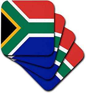 3dRose cst_158432_2 Flag of South Africa-Colorful Red Green Blue Black White Yellow Multicolor African World Souvenir-Soft Coasters, Set of 8