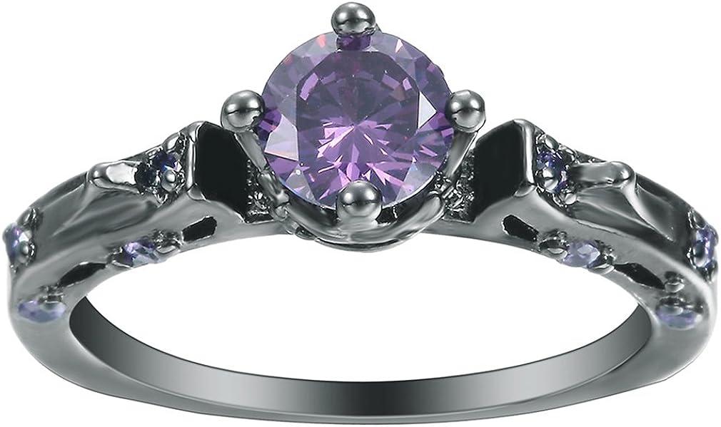 (ウォ2U)Woo2u レディース 紫水晶 クリスタル ジュエリー 18号 K ステンレス 透かし彫り 生日誕プレゼント リング 指輪 米国9号