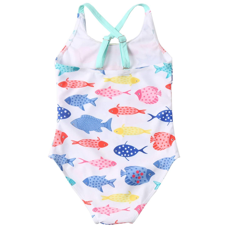 Kisskids Girls One-Piece Unicorn Swimsuit For Girls Flamingo Bathing Suits For Girls Rainbow Rash Guard
