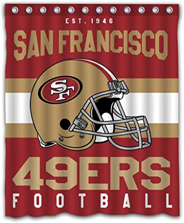 San Francisco 49ers NFL Football Fabric Bath Shower Curtain Red Gold Black White