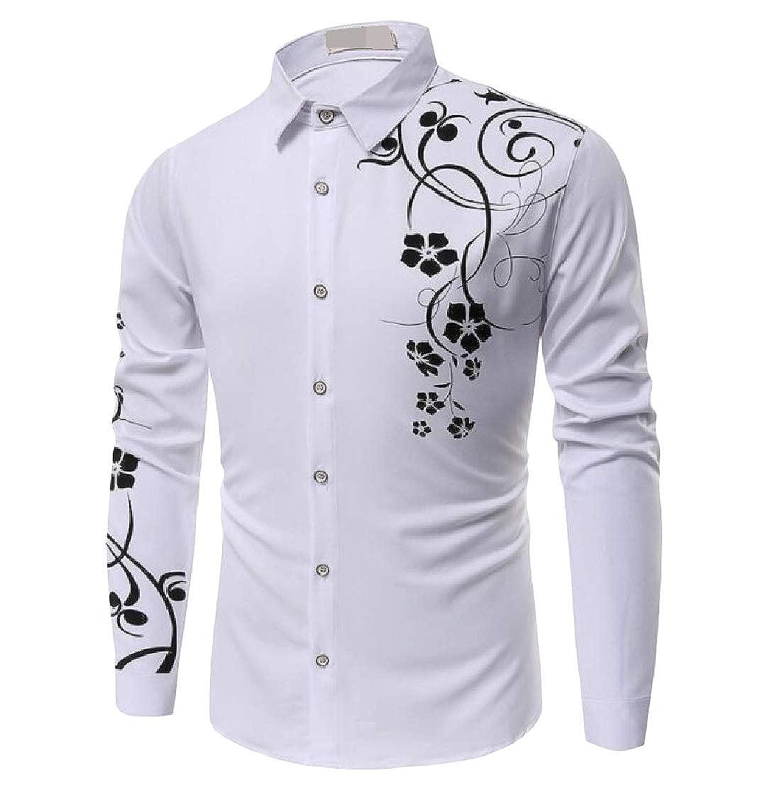 pipigo Men Basic Long Sleeve Solid Embroidery Button Down Shirt