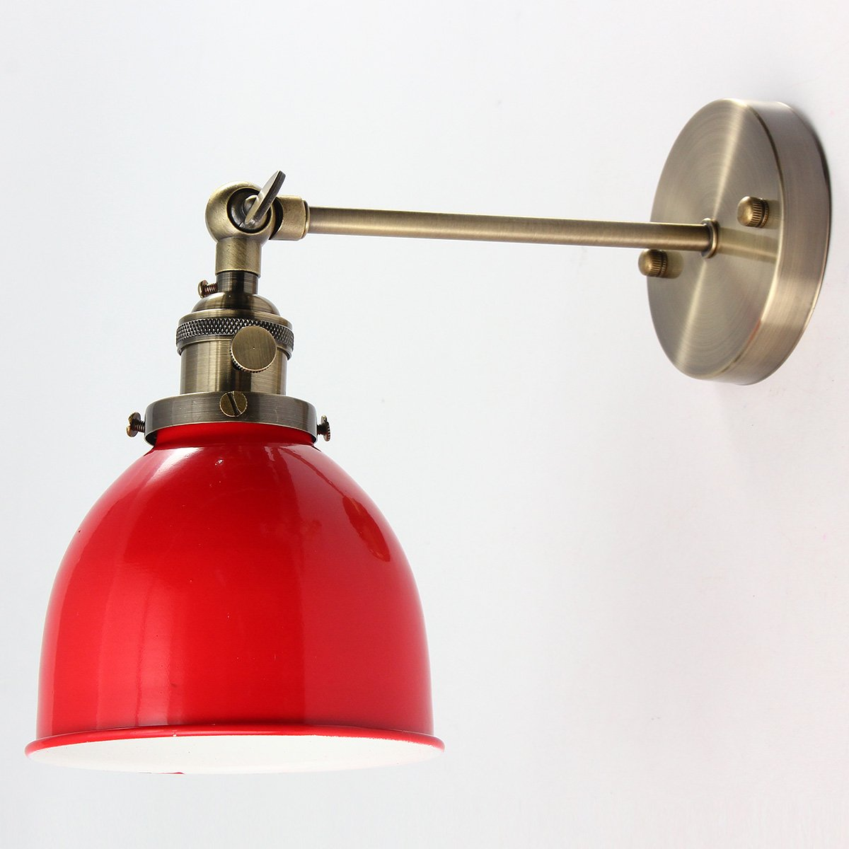 KING DO WAY Kit De E27 Abat-jour Suspension En Métal Industriel Vintage Applique Murale Décoration Maison Chambre Bar Café Baptême Mariage Lampshade (Sans Ampoule) Rouge KING DO WAY Co. LTD