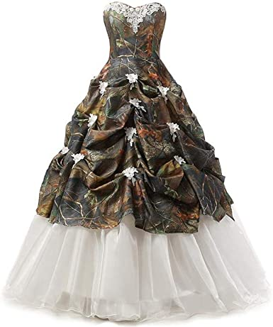 Chupeng Women S S Camouflage Satin Wedding Bridal Dress Prom Ball Gowns At Amazon Women S Clothing Store