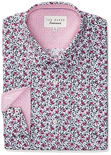 Ted Baker Men's Slim Fit Gates Floral Dress Shirt, Pink, 15'' Neck 34''-35'' Sleeve by Ted Baker