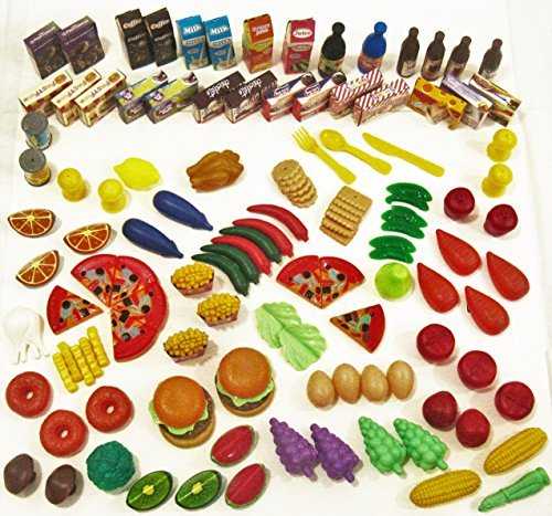 Kids Best Choice 128 Piece Pretend Food Set - Huge Variety of Realistic-Looking Pretend Play Foods. Top Quality Grocery Cart Toys for Girls and Boys ages 2 & up, Storage Bag Included