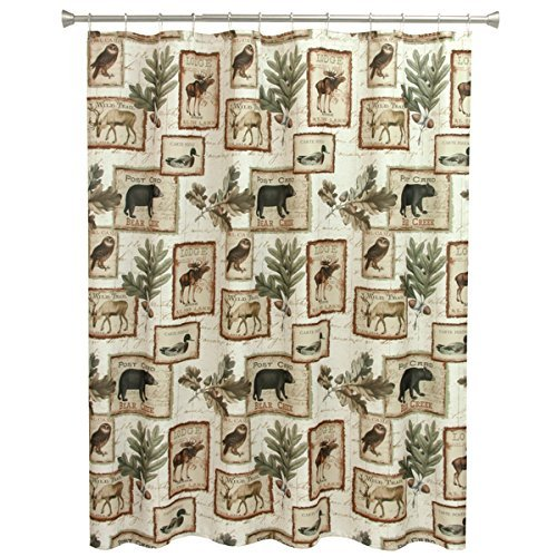 NA Wildlife Bear Moose Deer Shower Curtain Bathroom, Southwestern Nature Design, Brown Beige Green, Horizontal Hunting Themed Pattern, Wild Game Animals Owls Ducks, Cottage Cobin Lodge 70 X 72