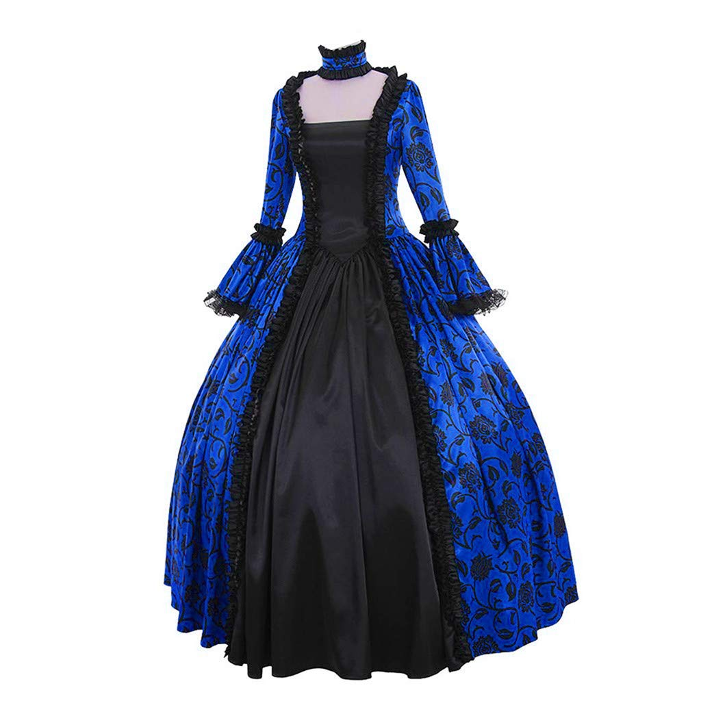 Women Medieval Dress Renaissance Lace Up Vintage Gothic Dress Floor Length Hooded Cosplay Dresses Retro (5-Blue Floral Print Ball Gowns, XL) by Hotcl