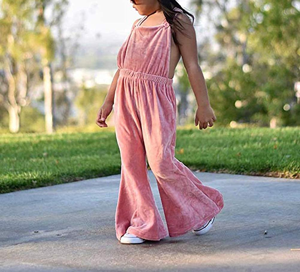 Bagilaanoe Toddler Kids Baby Girls Strap Sleeveless Bell-Bottom Flare Jumpsuit Romper Overall Outfit 6M-5T