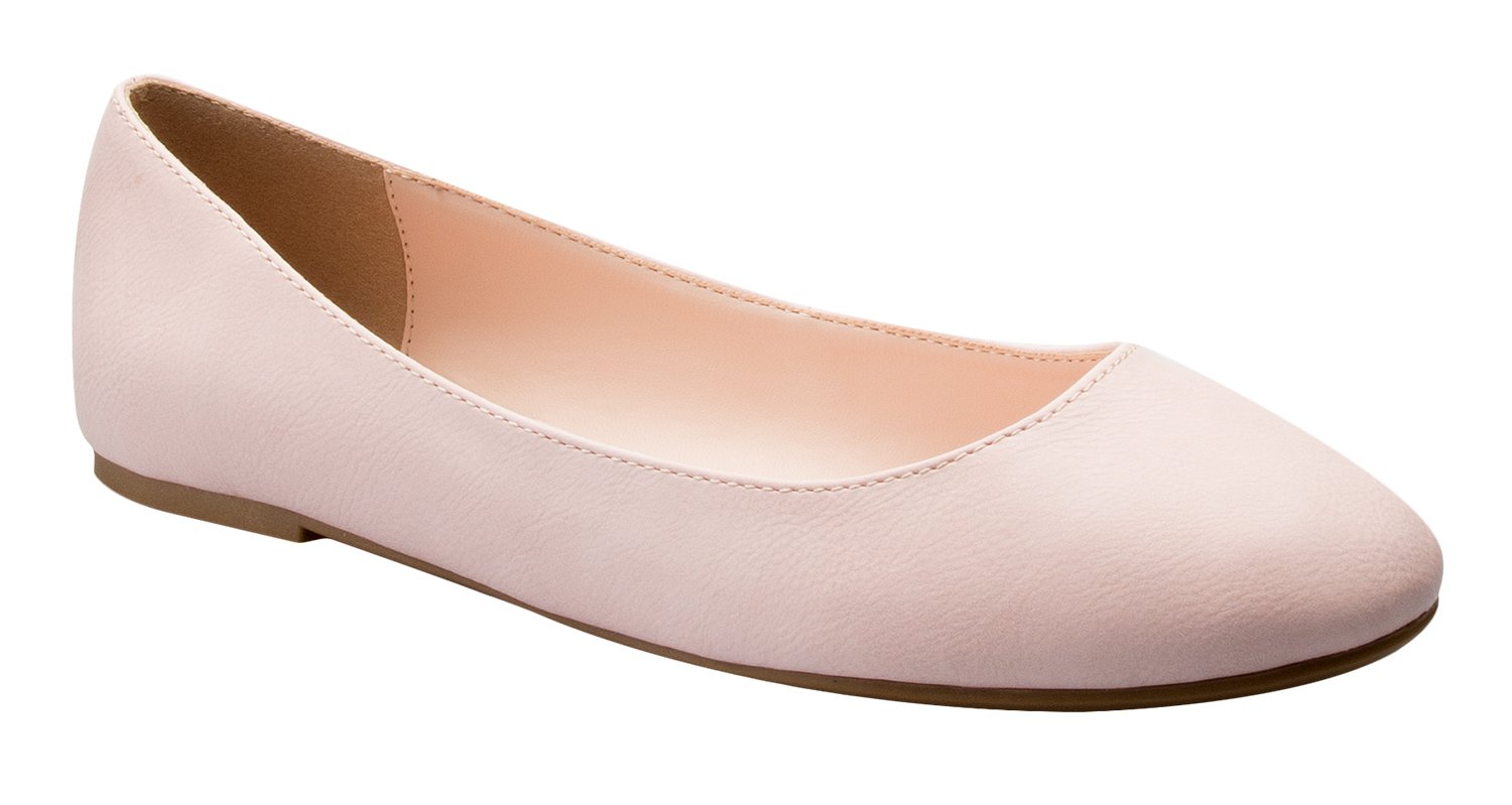 OLIVIA K Women's Comfort Basic Classic Ballet Flat Shoes - Formal, Casual Easy Slip On Work Shoe B06XXNM261 6.5 B(M) US|Dusty Pink Pu