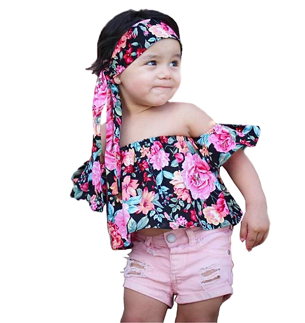 Fashion Baby Girls Off Shoulder Boho Print Floral Multicolor Mother Daughter Matching Blouse + Bandage Headband