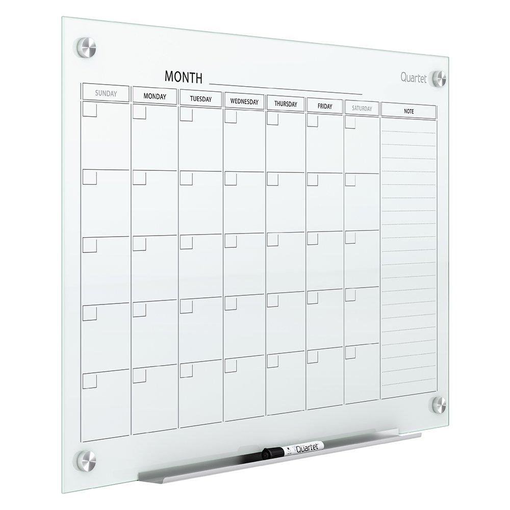 Quartet Magnetic Whiteboard Calendar, Glass Dry Erase White Board Planner, 3' x 2', White Surface, Frameless, Infinity (GC3624F) by Quartet