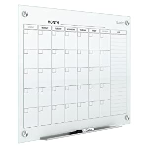 Quartet Magnetic Whiteboard Calendar, Glass Dry Erase White Board Planner, 3' x 2', White Surface, Frameless, Infinity (GC3624F)