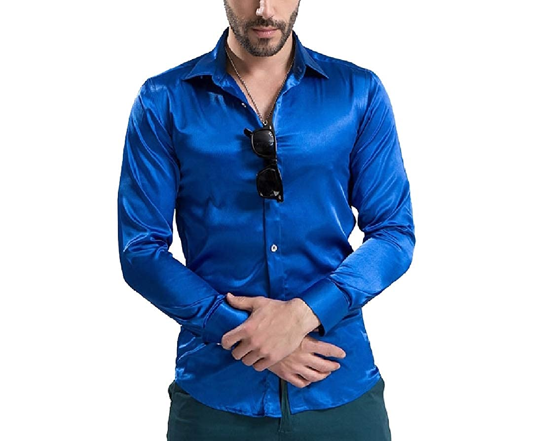 Coolred-Men Charmeuse Bright Color Luxurious Plus Size Polo Shirt