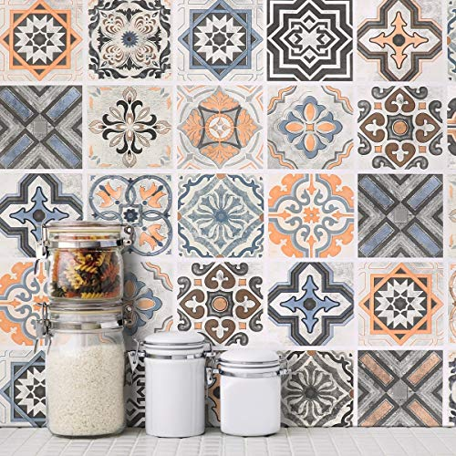 Oxdigi Moroccan Style Wallpaper Self Adhesive Graphic Mosaic Wall Mural for Kitchen Bathroom Backsplash Staircase Decorative Peel and Stick 24