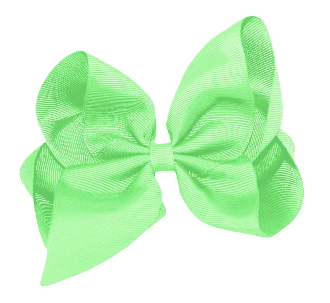 Girls Mint Green And Gold Handmade Korker Ribbon School Hair Bow Clasp// Clip