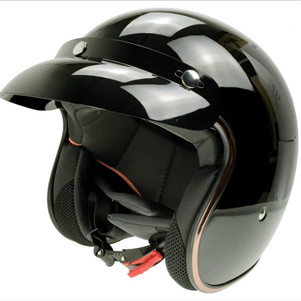 DGF ヘルメットABS素材オートバイモノクロ電動レトロハーレーハーフヘルメット乗馬男性と女性夏四季ハーフヘルメット (色 : Black, サイズ さいず : L l) B07FDY77VN L l|Black Black L l