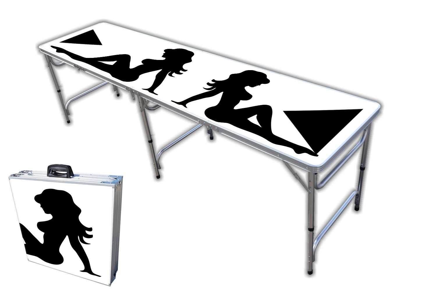 8-Foot Professional Beer Pong Table - Trucker Girl Graphic by PartyPongTables.com