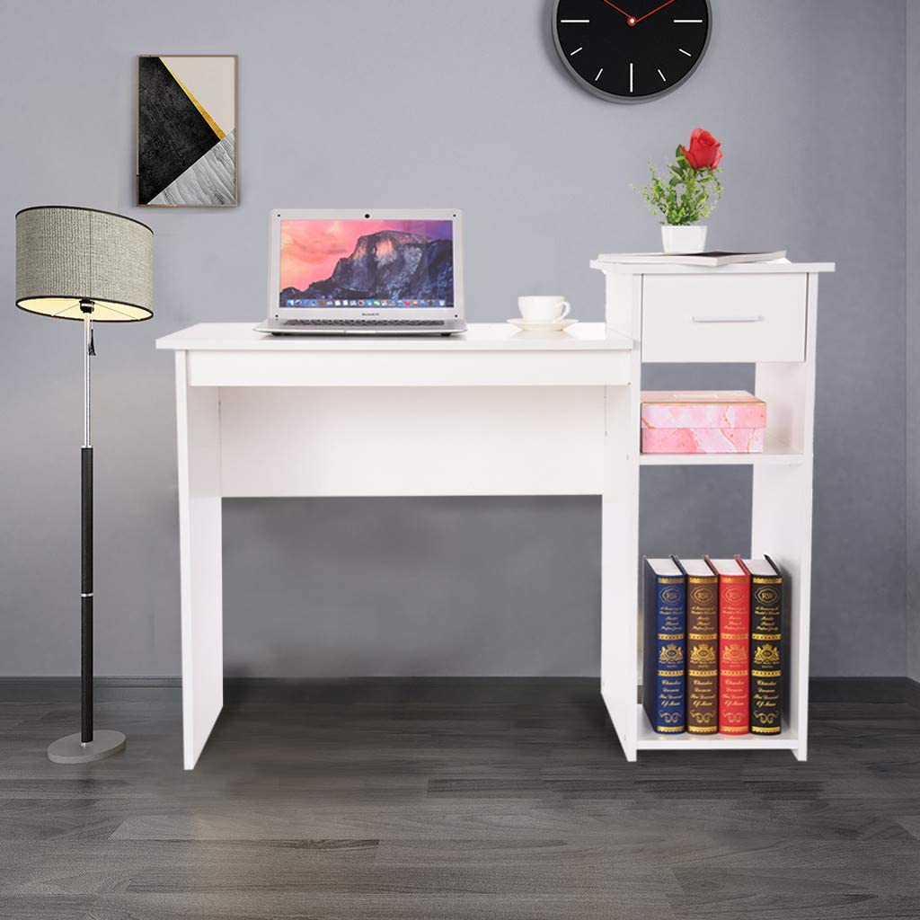 """Computer Desk 41"""" Multipurpose Study Writing Table for Home Office, Modern Simple Industrial Style Workstatio Notebook Desk Wood, Office Desk with Storage ShelfShelf, Save Space, Mambain (White)"""