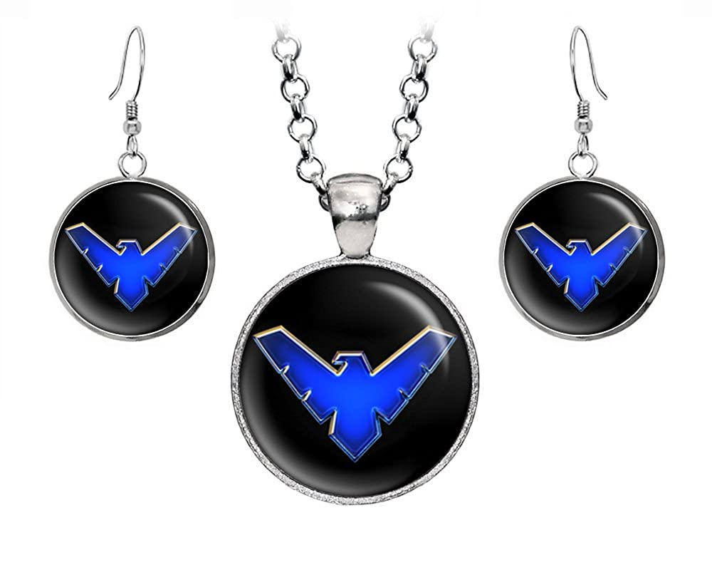 Amazon Nightwing Earrings Batman Necklace Suicide Squad Justice League Pendant The Dark Knight Dc Ics Jewelry Set Wedding Party: Nightwing Symbol Wedding Rings At Reisefeber.org